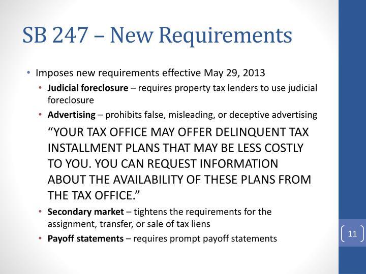 SB 247 – New Requirements