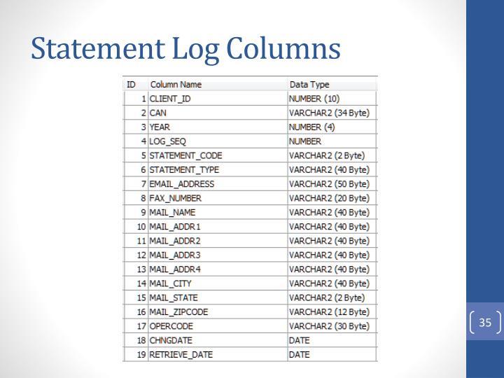 Statement Log Columns