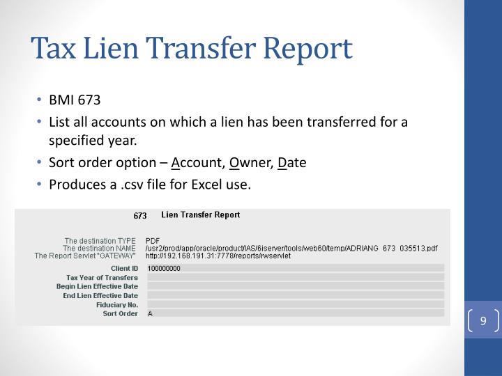 Tax Lien Transfer Report