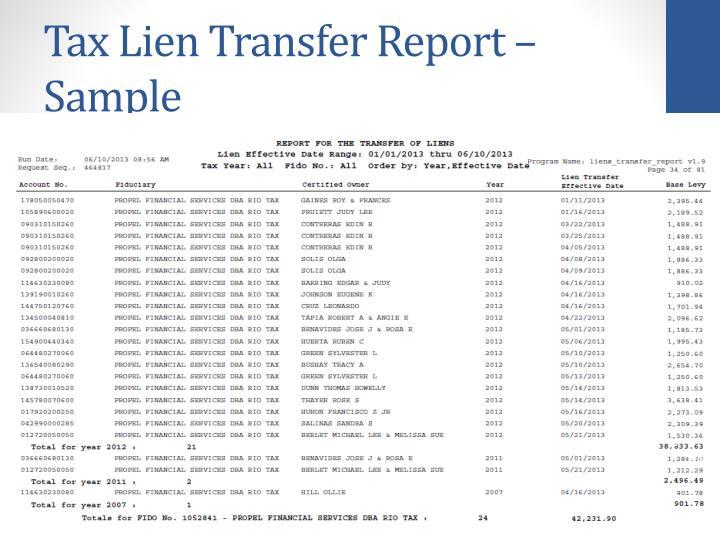 Tax Lien Transfer Report – Sampl
