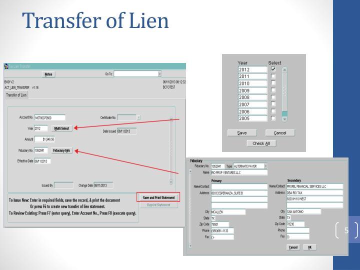 Transfer of Lien