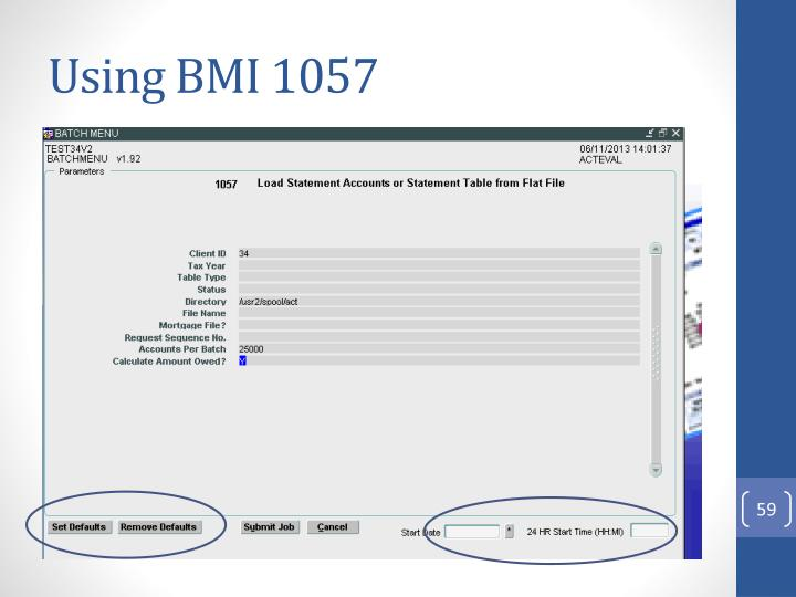 Using BMI 1057