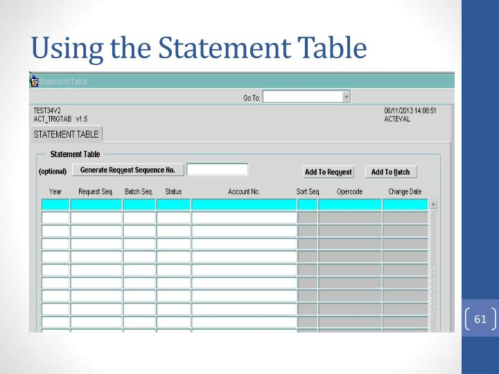 Using the Statement Table