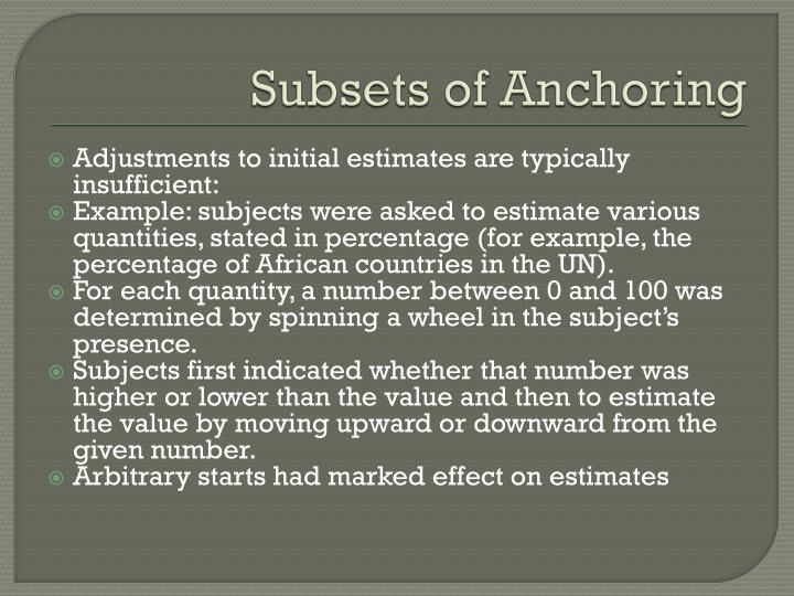 Subsets of Anchoring