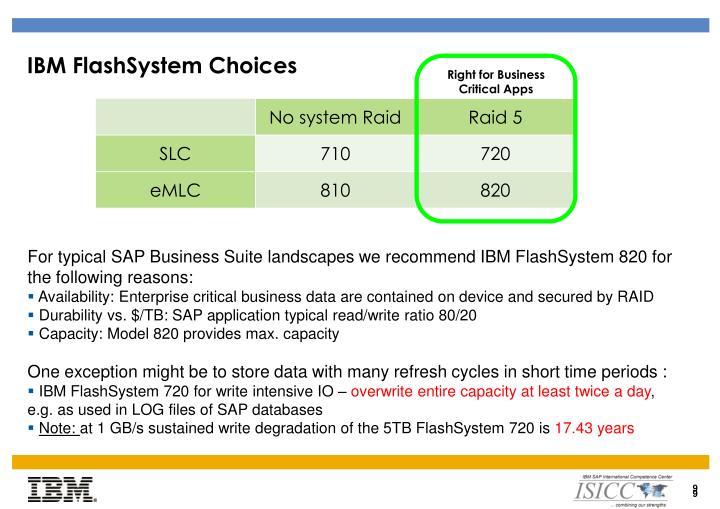 IBM FlashSystem Choices