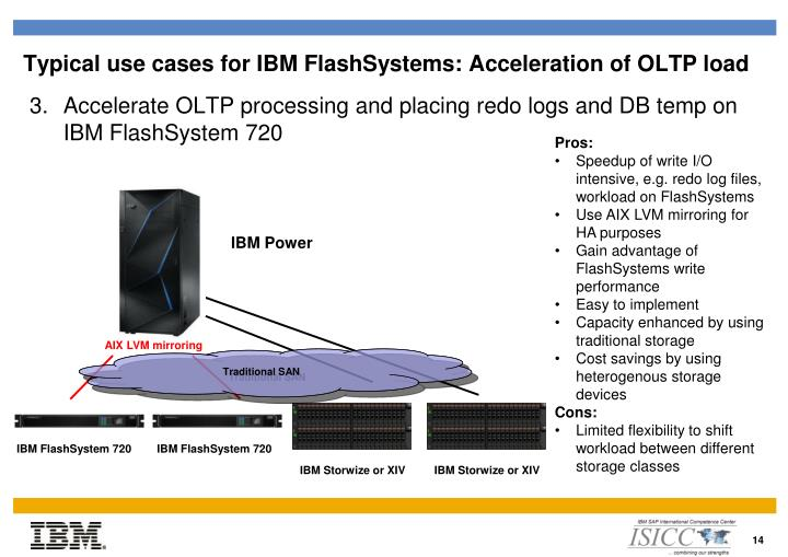 Typical use cases for IBM FlashSystems: Acceleration of OLTP load