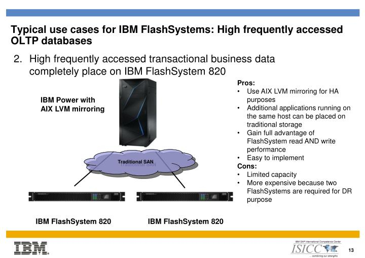 Typical use cases for IBM FlashSystems:
