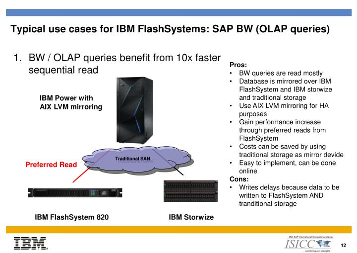 Typical use cases for IBM FlashSystems: SAP BW (OLAP queries)