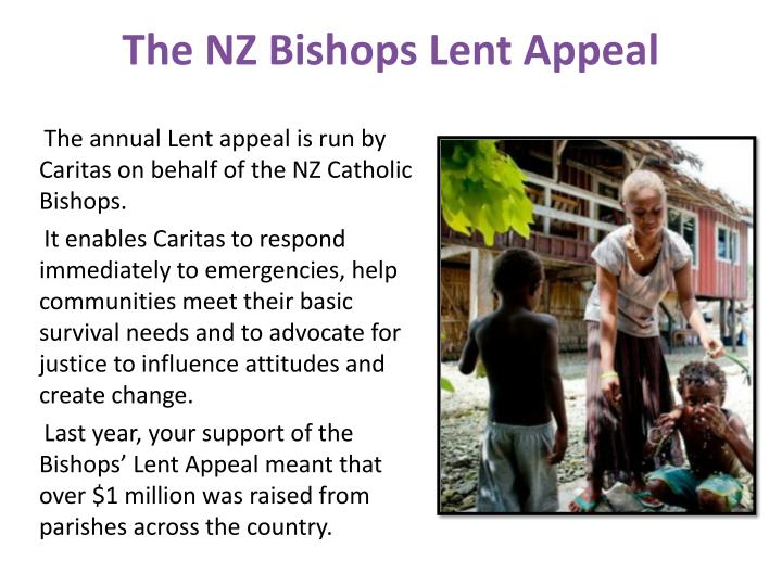 The nz bishops lent appeal