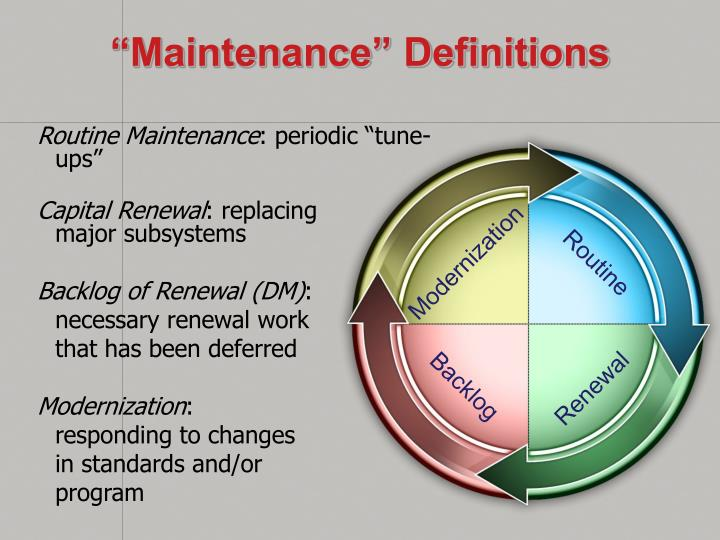 """Maintenance"" Definitions"