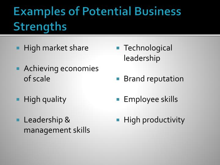Examples of Potential Business Strengths