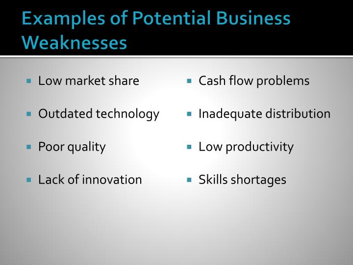 Examples of Potential Business Weaknesses