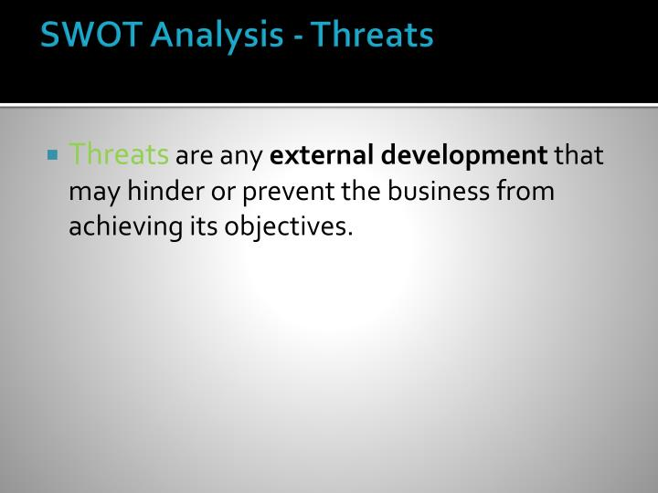 SWOT Analysis - Threats
