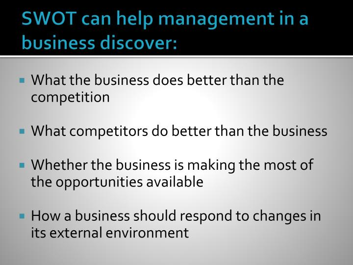 SWOT can help management in a business discover: