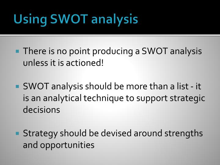 Using SWOT analysis