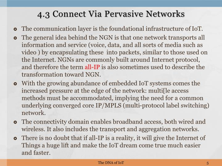 4.3 Connect Via Pervasive Networks