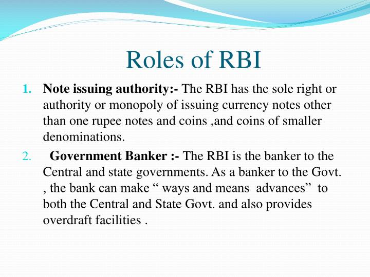 Roles of RBI