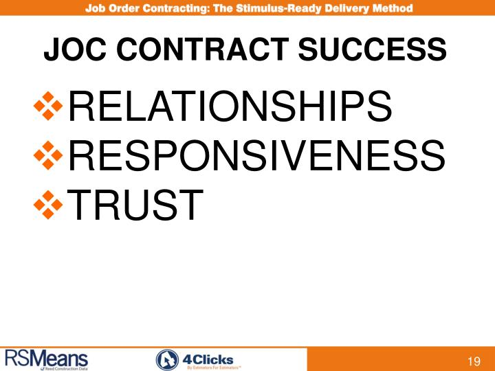 JOC CONTRACT SUCCESS