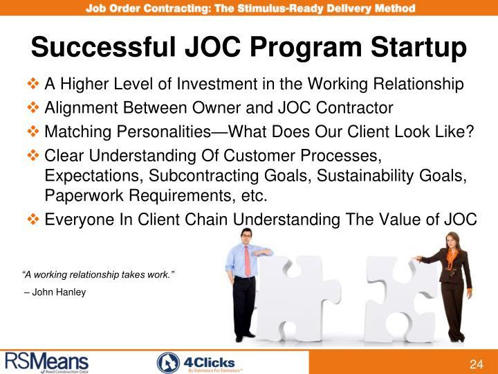 Successful JOC Program Startup