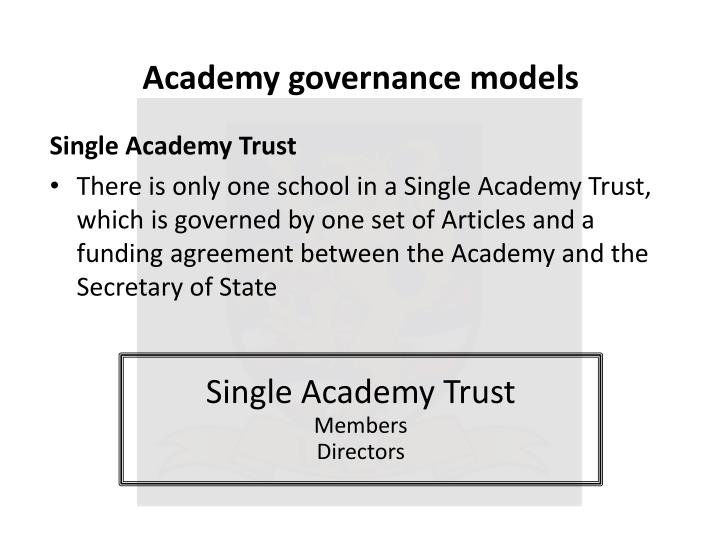 Academy governance models