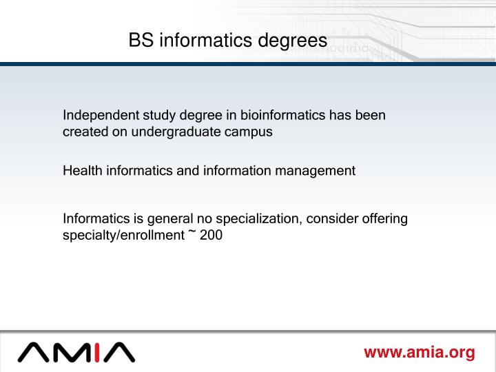 BS informatics degrees