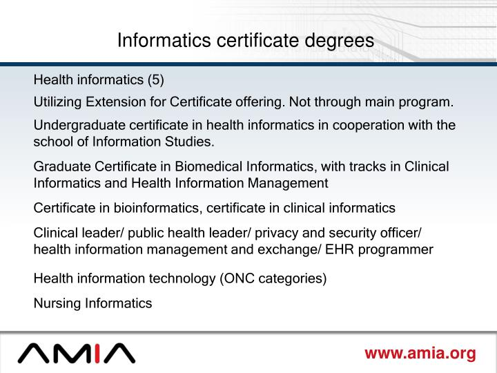 Informatics certificate degrees
