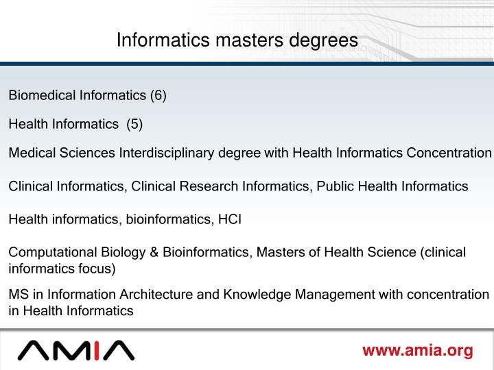 Informatics masters degrees