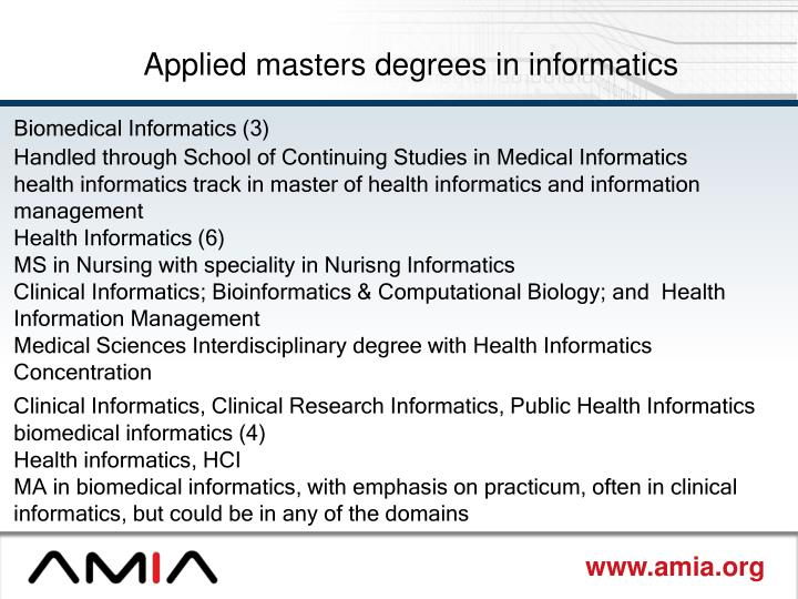 Applied masters degrees in informatics