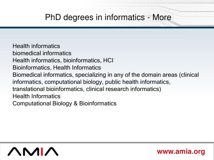 PhD degrees in informatics - More