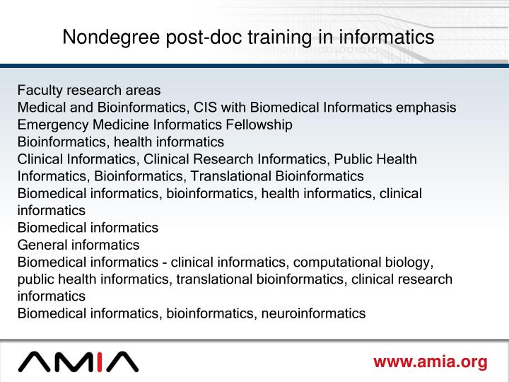 Nondegree post-doc training in informatics