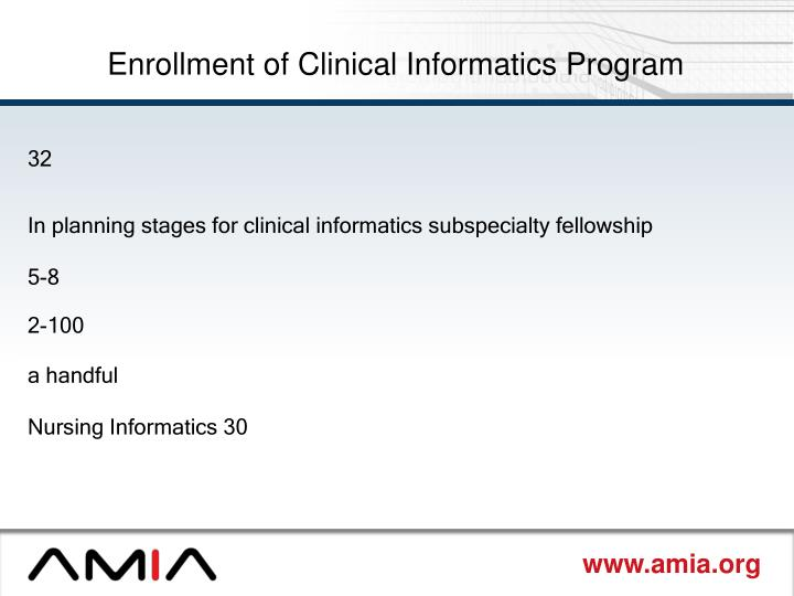 Enrollment of Clinical Informatics Program