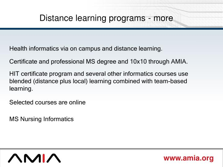 Distance learning programs - more