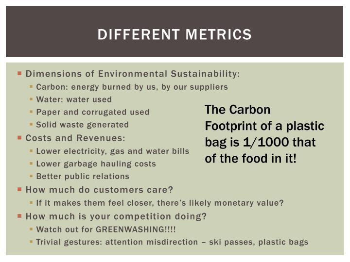 Different metrics