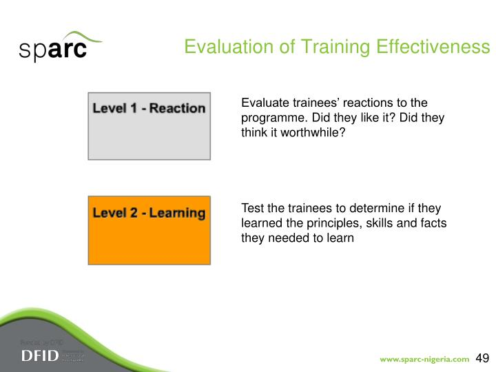 Evaluation of Training Effectiveness