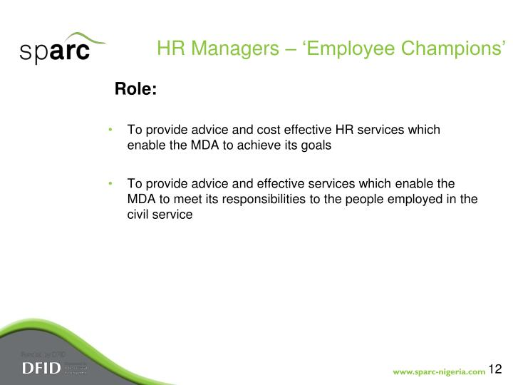 HR Managers – 'Employee Champions'