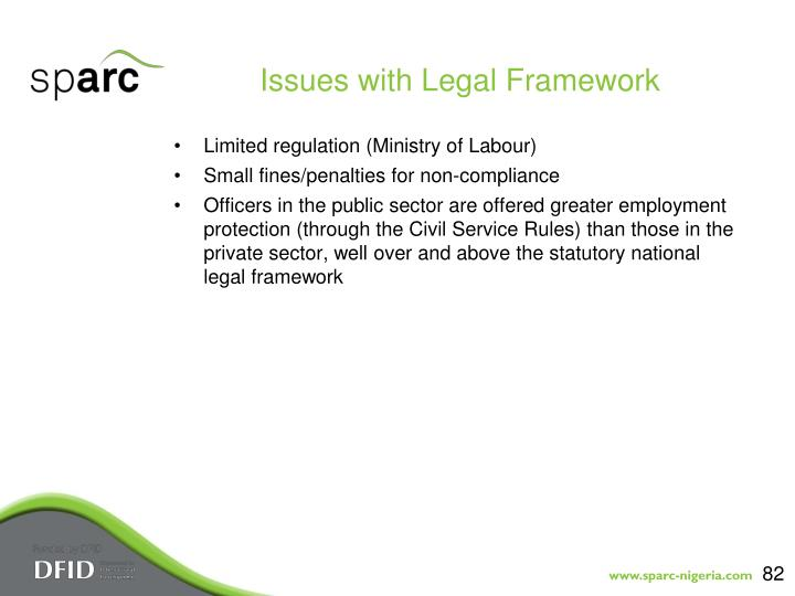 Issues with Legal Framework