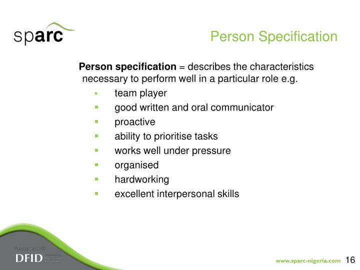 Person Specification