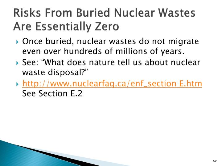 Risks From Buried Nuclear Wastes Are Essentially Zero