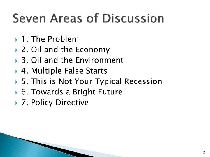 Seven areas of discussion