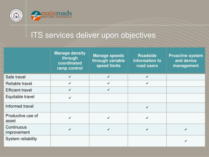ITS services deliver upon objectives