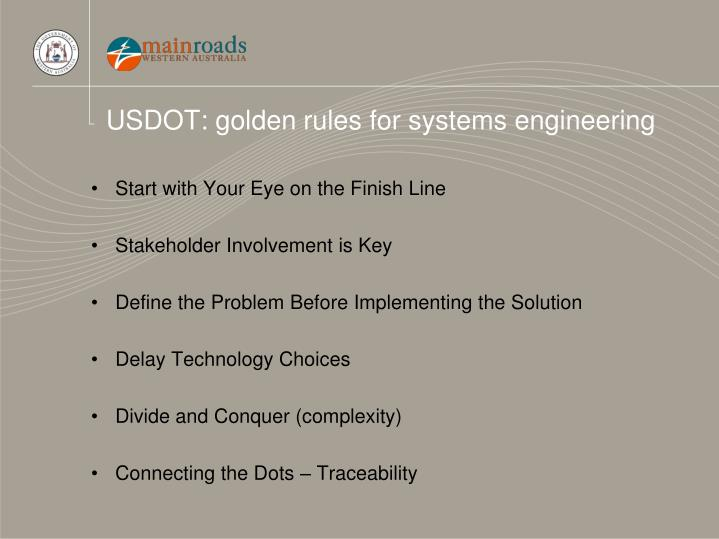 USDOT: golden rules for systems engineering