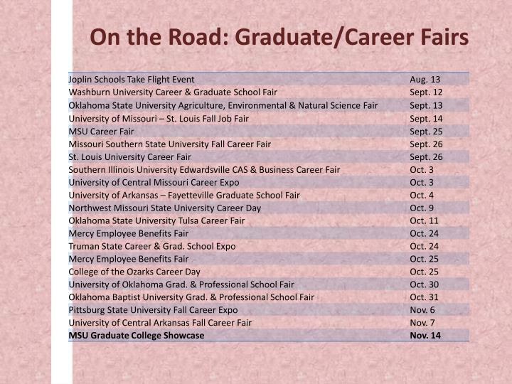 On the Road: Graduate/Career Fairs