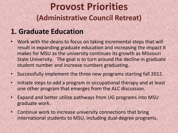 Provost Priorities