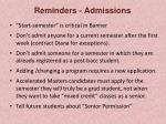 reminders admissions