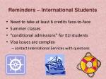 reminders international students