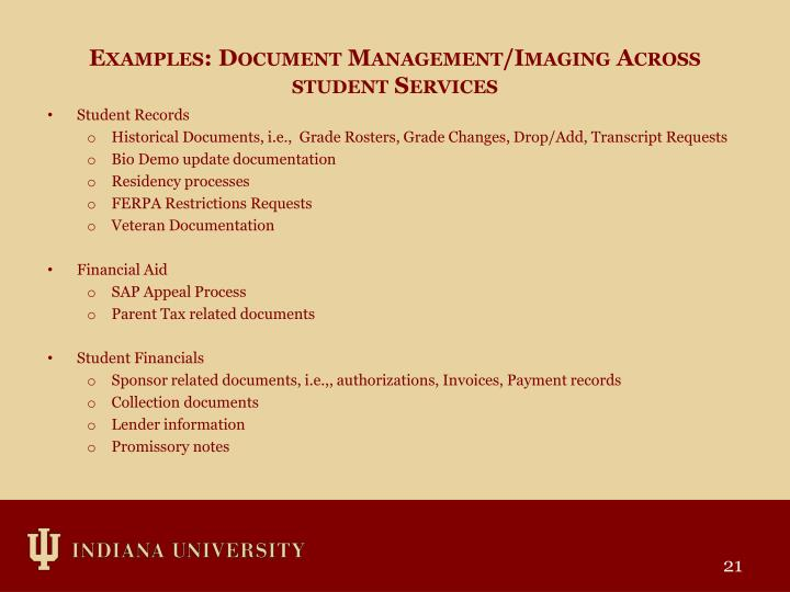 Examples: Document Management/Imaging Across student Services
