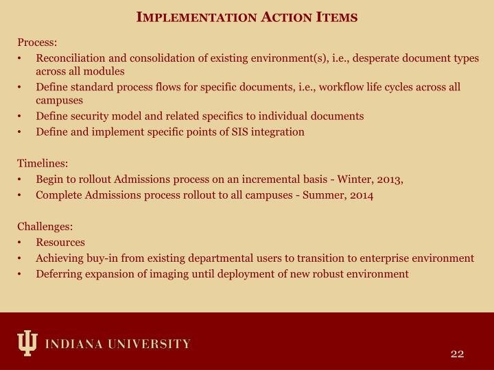 Implementation Action Items