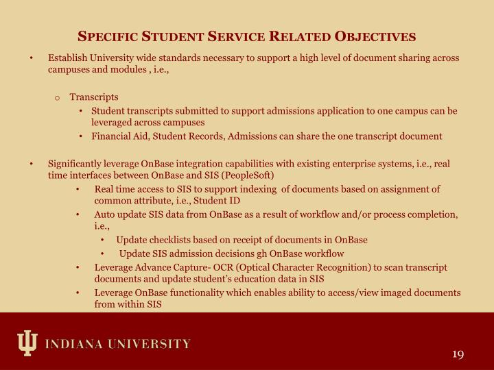 Specific Student Service Related Objectives