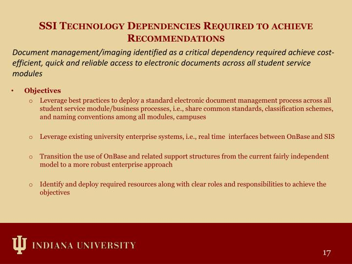 SSI Technology Dependencies Required to achieve Recommendations