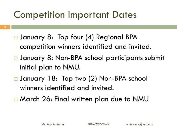 Competition Important Dates